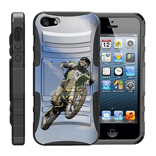TurtleArmor Schutzhülle für Apple iPhone SE, iPhone 5 / 5S, stoßfest, aus Silikon, mit Ständer, für Sport und Videospiele, Motocross Bike (Mobile Virgin Apple-handys)