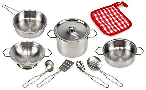 Kitchen Pretend Toys Stainless Steel Cookware Playset with Varieties of Pots and Pans and Cooking Utensils For Kids