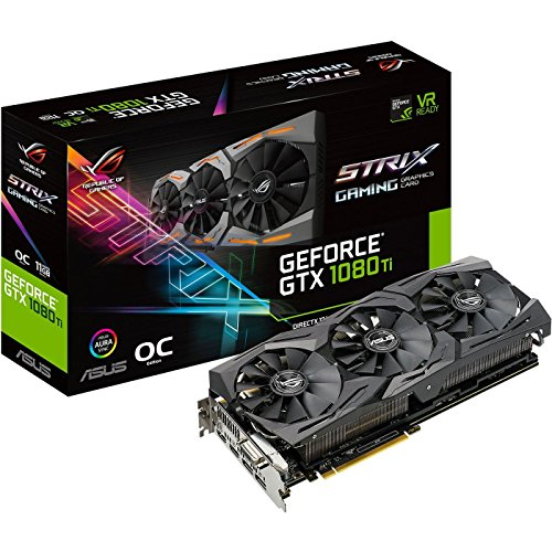 Price comparison product image ASUS ROG-STRIX-GTX1080TI-O11G-GAMING GeForce 11GB OC Edition VR Ready 5K HD Gaming HDMI DisplayPort DVI Overclocked PC GDDR5X Graphics Card