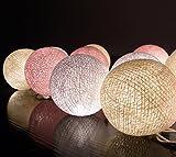 20er-Set, Klassische Kugel aus leichter Baumwolle, cremefarben / rosa / weiß, für Weihnachten, Deko für zu Hause