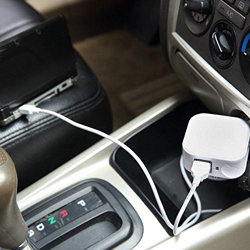 Exlene® 3DS auto USB e Wall caricabatterie da viaggio con 1.2M 3DS Cavo per Nintendo 3DS, 3DS XL, 2DS, DSi, DSi XL, iPhone, iPad, smartphone e More (rosso) bianca