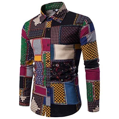 Sannysis camisetas manga larga slim fit, camisetas interior de manga larga con cuello blusa de moda elegante invierno camisetas termicas originales camisa cuadros hombre para fiesta (M)