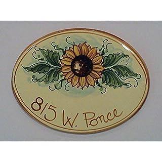 Keramik-und Plaketten oval Hausnummern ZENTRAL SONNENBLUME - bestellen Sie hier Ihre Hausnummer (ovale girasole centrale)