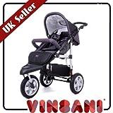 VINSANI CHARCOAL SAFARI BABY JOGGER STROLLER / PUSHCHAIR / PRAM/ 3 WHEELER