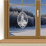 Klassisches Fensterbild Kerze Weihnachts-Fensterdeko aus Echter Plauener Spitze weiß