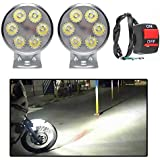 Motor Duniya 6 LED Small Round Spot Beam LED Bike Aux Lights White Set of 2 with Switch for All Bikes