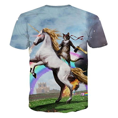 Uideazone Unisex 3d Print Funny Mens Short Sleeve T-shirts Multicoloured UK S-L Style-2
