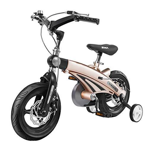 Cacoffay Teleskopisch Falten Kinder Fahrrad mit Dual Scheibe Bremse zum Junge und Mädchen 12-14- 16 Zoll Ausbildung Räder Geeignet zum 2-11 Jahre Kind,12inch -