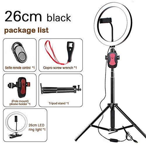 5600K LED Ring Light 10 Inch 26CM Lampada Dimmerabile Fotografia Studio Phone Video Con 150 CM Treppiede Selfie Stick/USB Plug Per Trucco D
