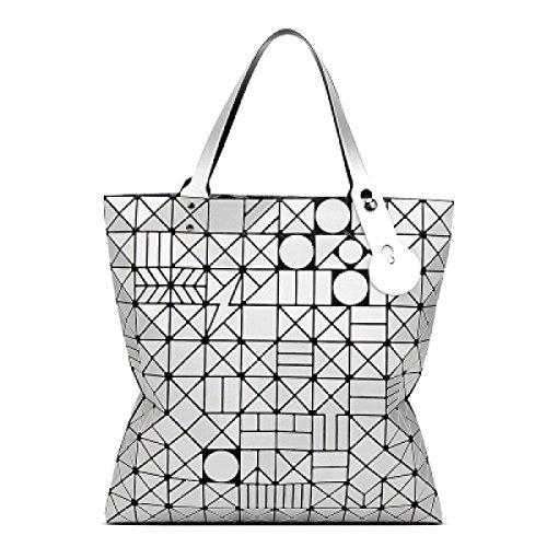 Für Frauen Tragetasche PU Leder Geometric Diamant Schultertasche Handgriff-Beutel White