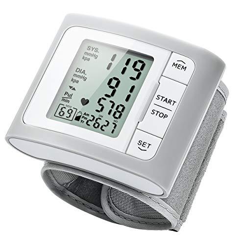 Mpow Misuratore di Pressione da Polso, MEMS Sensore di Pressione, 60 Memorie, Rilevatore di Battito Irregolare, Bracciale (13,5 cm-21,5 cm), Operazione di Un-Tasto, Display LCD