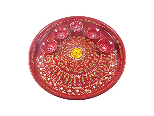 GoldGiftIdeas Hand Painted Arti Pooja Thali Set - Pack of 1 PC ( 10 Inch )  available at amazon for Rs.299