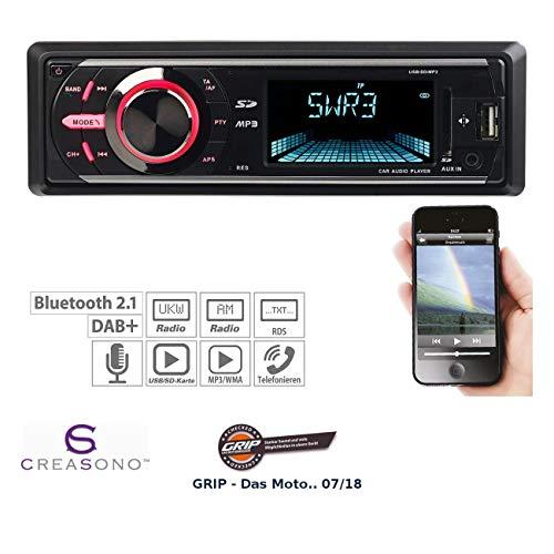 Creasono 1 DIN Autoradio: MP3-Autoradio mit DAB+, Bluetooth, Freisprecher, USB & SD, 4X 50 Watt (DAB Autoradios)