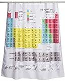 Duschvorhang Chemie Motiv - Bunt 'Periodensystem der Elemente' 180 x 180 cm - Dusch-Vorhang als Geschenkidee - Grinscard