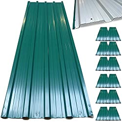 Deuba Corrugated Roof Sheets (129 x 45 cm) Profiled Galvanised Metal Cladding - Green, 12 Count