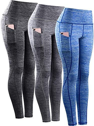 teuer hohe Taillen-Trainings-lauf Gamaschen, xx-Large 9033 Yoga Hose 3er Pack: schwarz, grau, blau ()