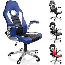 TRESKO® Silla de oficina Racing Gaming giratoria, escritorio ordenador, 4 colores diferentes, reposabrazos acolchados y regulables, mecanismo de inclinación basculante (Azul / Blanco / Negro)