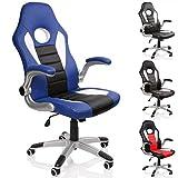 TRESKO Racing Bürostuhl Drehstuhl Chefsessel Schreibtischstuhl 4 Farbvarianten, gepolsterte und Verstellbare Armlehnen, Wippmechanik, Lift SGS geprüft (Blau/Weiß / Schwarz)