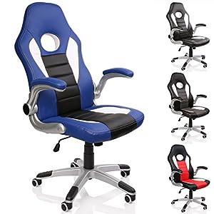 TRESKO® Silla de oficina Racing Sport, 4 colores diferentes, reposabrazos acolchados + elevables, mecanismo de inclinación, regulable en altura