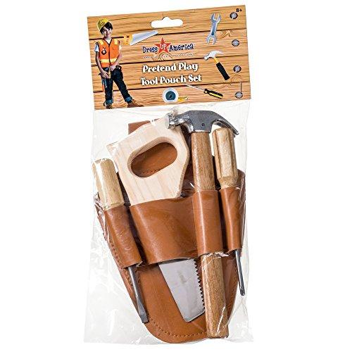 Dress Up America 928 - Rollenspielset mit Gürteltasche und Kindertischlerwerkzeugen aus Holz -