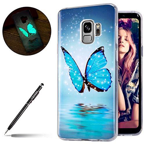 Uposao Kompatibel mit Handyhülle Galaxy S9 Leuchtende Silikonhülle Leuchtet im Dunklen Handyhülle Silikonhülle Schutzhülle Ultra Slim Soft Back Cover Case Bumper,Blau Schmetterling Blau Back Case