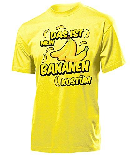 Bananen Kostüm Herren T-Shirt Bananenkostüm Obstkostüme 1718 Karneval Fasching Faschingskostüm Karnevalskostüm Paarkostüm Gruppenkostüm Gelb XL