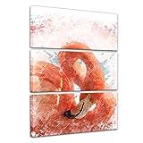 Bilderdepot24 Kunstdruck Reproduktion - Aquarell - Flamingo II - Bild auf Leinwand 90 x 150 cm dreiteilig - Leinwandbilder - Bilder als Leinwanddruck - Wandbild Tierwelten - Malerei - pink - Vogel