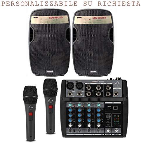Karaoke Bundle 802 impianto audio per bar, pub, coppia diffusori amplificati 500w + mixer + coppia microfoni e cavi