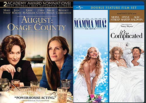 The POWER HOUSE That Is Meryl Streep Movie Mania: Mamma Mia! / It's Complicated + August: Osage County(DVD Warm & Fuzzy Bundle Feature Films)