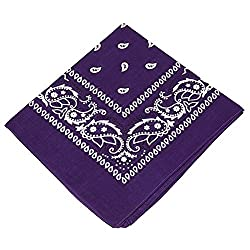 3 Pack of Bandanas with paisley design for Men,women,& children Head scarf / Neck Scarf / Neckerchief / Handkerchief / Head Tie Dog roo /Cowboy / Party costume 100% Cotton (Purple,Red,Light Pink)