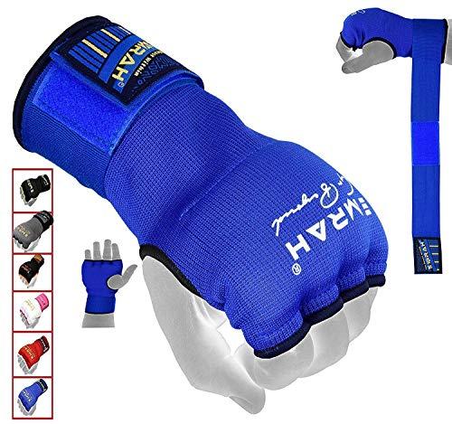 EMRAH PRO Boxing Armbänder Hand wickelt Boxing Elastic Innenhandschuhe MMA Handschuhe Daumenschlaufe (Blau, M)