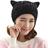 TININNA Otoño Invierno caliente linda hecha punto de gato orejas Reciente Slouchy Gorra Sombrero Niñas Mujeres Unisex Cálido Crochet Tejer Sombrero de Beanie-Negro