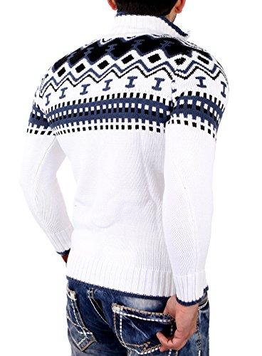 Reslad Herren Strickpullover Crewneck Zipper Norweger Pullover RS-3110 Weiß