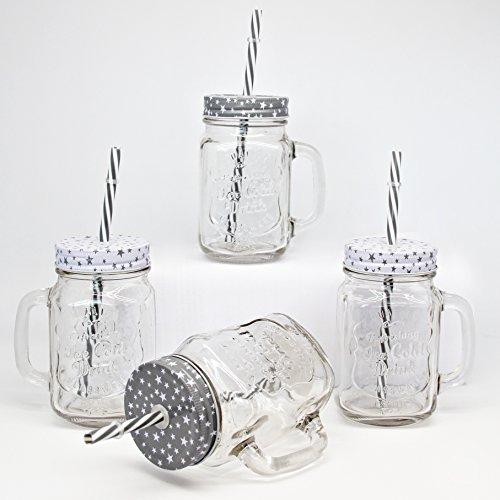 BADA BING 4er Set Trinkglas Stern grau weiß mit Deckel Strohhalm 2 fach sort. Vintage