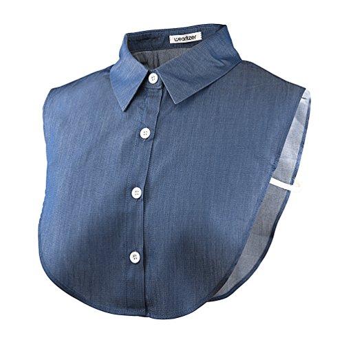 Wearlizer Frauen Kragen Abnehmbare Hälfte Shirt Bluse in Baumwolle Weiß/Schwarz/Jeans, Jeans, Einheitsgröße - Spitzen Kragen Kleid Shirt