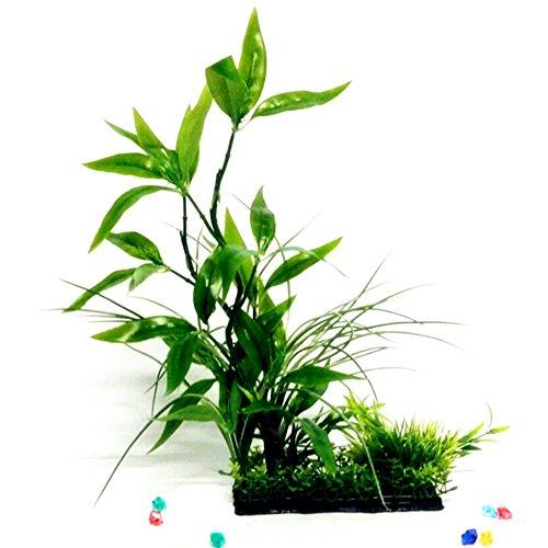 Finto acquario pianta acqua albero erba ornamento Fish Tank plastica Decor verde–verde
