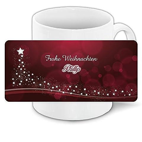 Weihnachtstasse mit Namen Phillip und edlem Motiv mit Sternen-Weihnachtsbaum - Tasse zu Weihnachten