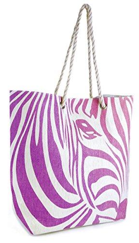 Summer Bags-Borsa a tracolla con manico, motivo zebrato Viola (viola)