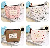 Cute Small Handbag Coin Zip Purse Mini Wallet Pack of 4,Canvas Pouch for Coin,Credit Card, ID Card, Keys, Headset, Lipstick