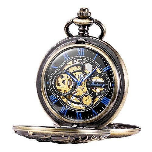 TREEWETO Retro Bronze Mechanische Taschenuhr Drache Gehäuse Doppelt Halbjäger Design Skelett Blau Römische Ziffern Taschenuhren mit kette und Geschenkbox