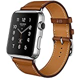 MroTech Compatible iWatch Bracelet 44mm Cuir Vache, Remplacement pour iWatch 42mm Bracelet Homme Hemme, Bande de Montre Compatible Série 4 Série 3 Série 2 Série 1 Watch Band 42 mm/44 mm Marron