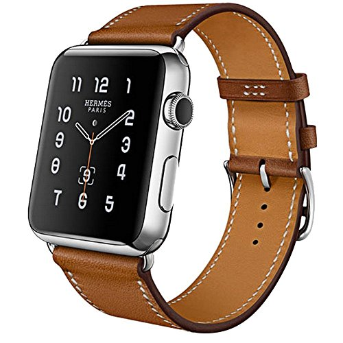 Armband für Apple Watch Series 3 Series 2 Series 1, MroTech iWatch Apple Watch Armband Edelstahl Leder Ersatzarmband Uhrenarmband für Apple Watch Sport Edition Nike+ alle Versionen (Single Loop-Braun, 38mm)