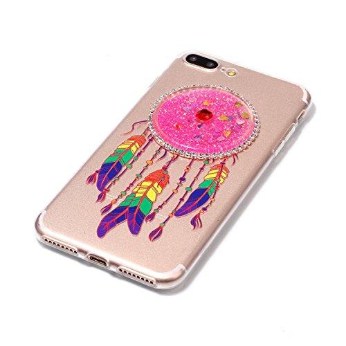 iPhone 7 Plus (5.5 Zoll) Hülle, Kreativ Design 3D Transparent Soft Silikon Hülle Case Dynamisch Heart-shaped Treibsand Liquid Fließen Flüssig Schwimmend Tasche Handyhülle Glitter Glitzer Sparkle Hart  8