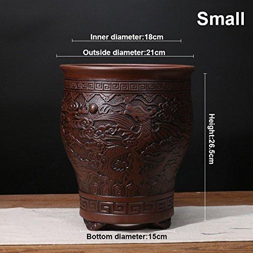 Nclon [style chinois] Yixing Argile pourpre Pot de fleur Clivia Bonsaï Les orchidées Plantes en pots Respirabilité Revêtement céramique Pot de fleur C- les petites