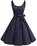 bbonlinedress 1950er Vintage Polka Dots Pinup Retro Rockabilly Kleid Cocktailkleider Navy White Dot L