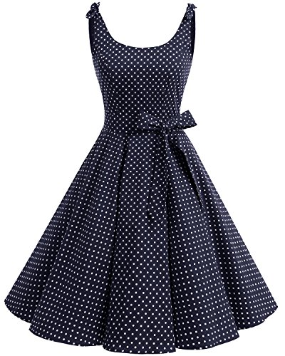 Bbonlinedress Vestidos de 1950 Estampado Vintage Retro Cóctel Rockabilly con Lazo Navy White Dot S