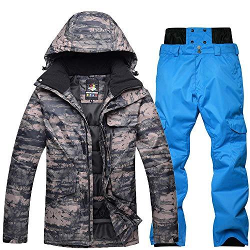 Tuta da Sci da Uomo Mimetico All'aperto Invernale, Abbigliamento da Snowboard, Impermeabile Caldo Addensato Giacca da Sci Pantaloni Set B Blue-L