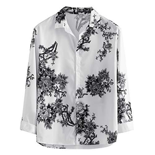 Luckycat Herren-Hemd Slim-Fit Langarm-Hemden Herren Hemd Henley Hawaii Drucken Roll-up Sleeve & Kurzarm Freizeithemd Casual Sommer Men Shirts