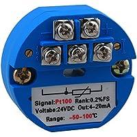 Yibuy PT100 Transmisor de Sensor de Temperatura -50 ~ + 100 C DC 24 V Salida 4-20 mA45 mm de diámetro.