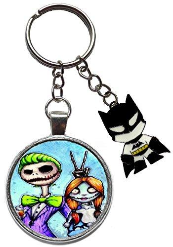 suicide squad nightmare before christmas jack skellington sally figure keyring key ring chain batman joker harley quinn keychain bruce wayne